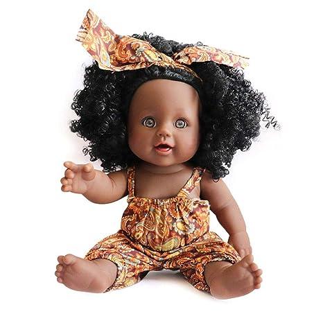 e34fcdbbade Black Girl Dolls Toddlers, Womdee 12 Inch Toy Baby Black Dolls African  American Washable Soft Body Play Dolls Lifelike Silicone Doll, Fun Play Toy  ...
