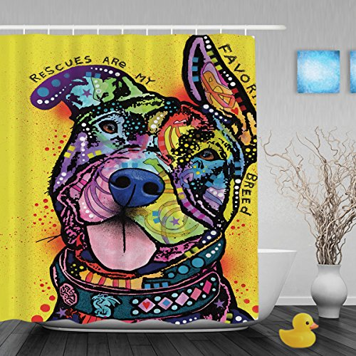 CafeTime Good Gift Pitbull Pet Dog Shower Curtains Art Animal Home Decor Bathroom Shower Curtains Waterproof Polyester Fabric Custom Shower Curtain For Gift 66x72Inch (Where To Buy Home Bars)