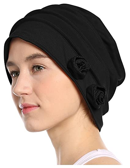 22510552443 I wish Women s Chemo Hat Beanie Scarf Liner for Turban Hat Headwear for  Cancer Black