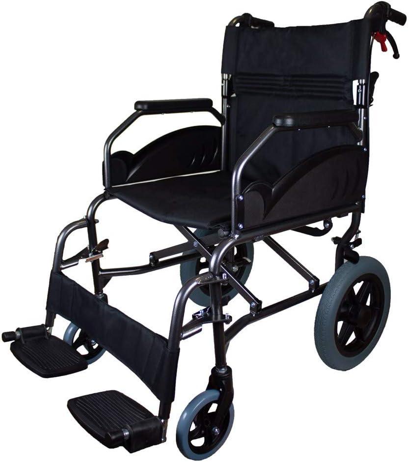Mobiclinic, Modelo Museo, Silla de ruedas plegable, para minuválidos, ortopédica, de aluminio, freno en manetas, reposapiés, reposabrazos, color Negro, asiento, ultraligera