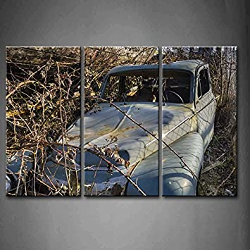 3 Panel Wand Kunst Old Rusty Auto Abandoned In Einem Boot Friedhof