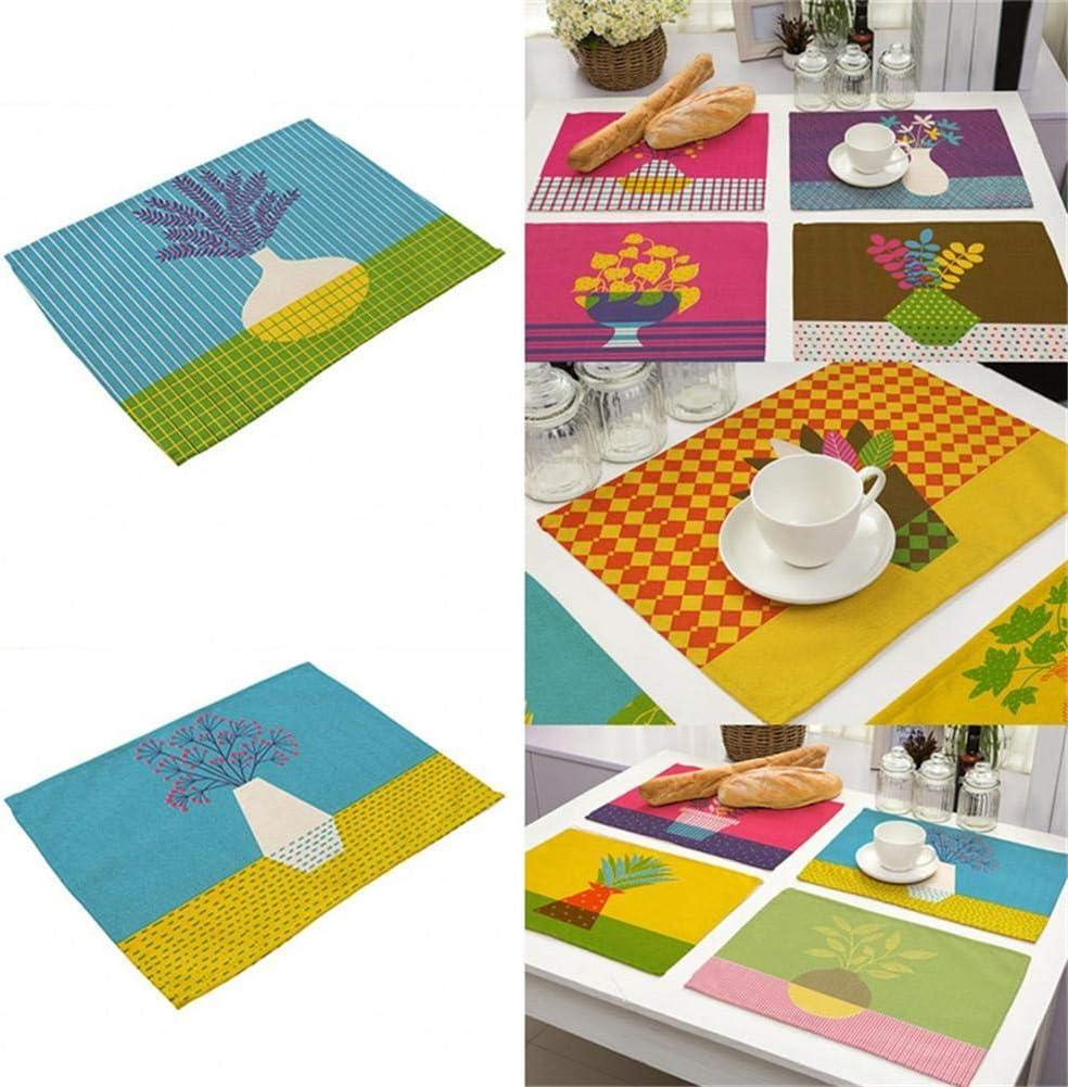Manteles individuales para mesa de comedor, juego de 2 esterillas de aislamiento térmico de algodón y lino lavables, jarrón de colores, serie Illustrator, estampado, decoración de mesa Ein Mp0006-1: Amazon.es: Hogar