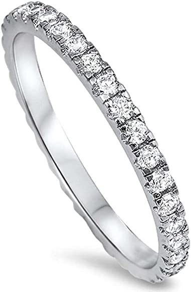 Esberry 18K Gold Plating 925 Sterling Silver Sideways Cross Rings Cubic Zirconia Stackable Rings CZ Simulated Diamond Eternity Bands Engagement Wedding Bands for Women