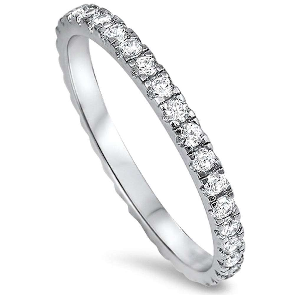 14K Gold Plated Sterling Silver AAA CZ Simulated Diamond Stackable Ring Eternity Bands for Women Oxford Diamond Co ODC-105187-CR-ALL