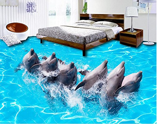 LWCX 3D Stereoscopic Sea World Dolphin Pvc Waterproof Floor Custom Photo Self-Adhesive 3D Floor 3D Floor Wallpapers 150x120CM