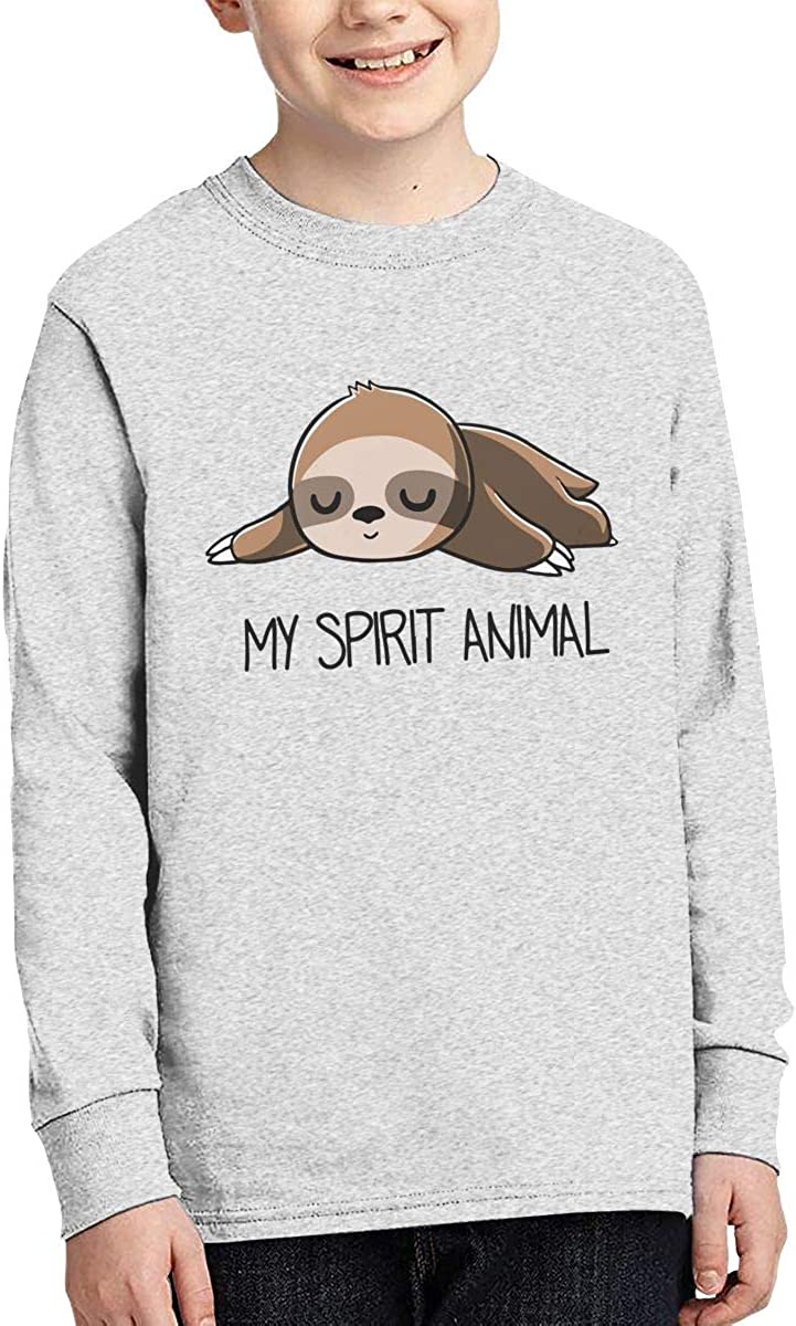 Printed Long Sleeve 100/% Cotton T-Shirts Sloth Teenagers Teen Girls My Spirit Animal