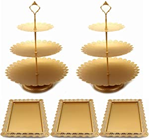 Set of 5 Pieces Cake Stands Iron Cupcake Holder Fruits Dessert Display Plate Serving Tray for Baby Shower Wedding Birthday Party Celebration Home Decor (Gold)