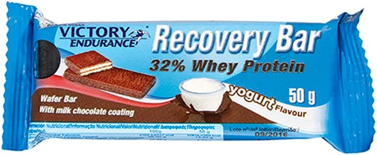 Victory Endurance Recovery Bar - Barra de oblea con recubrimiento de chocolate con leche, 32% de proteína de suero, 1 Unidad