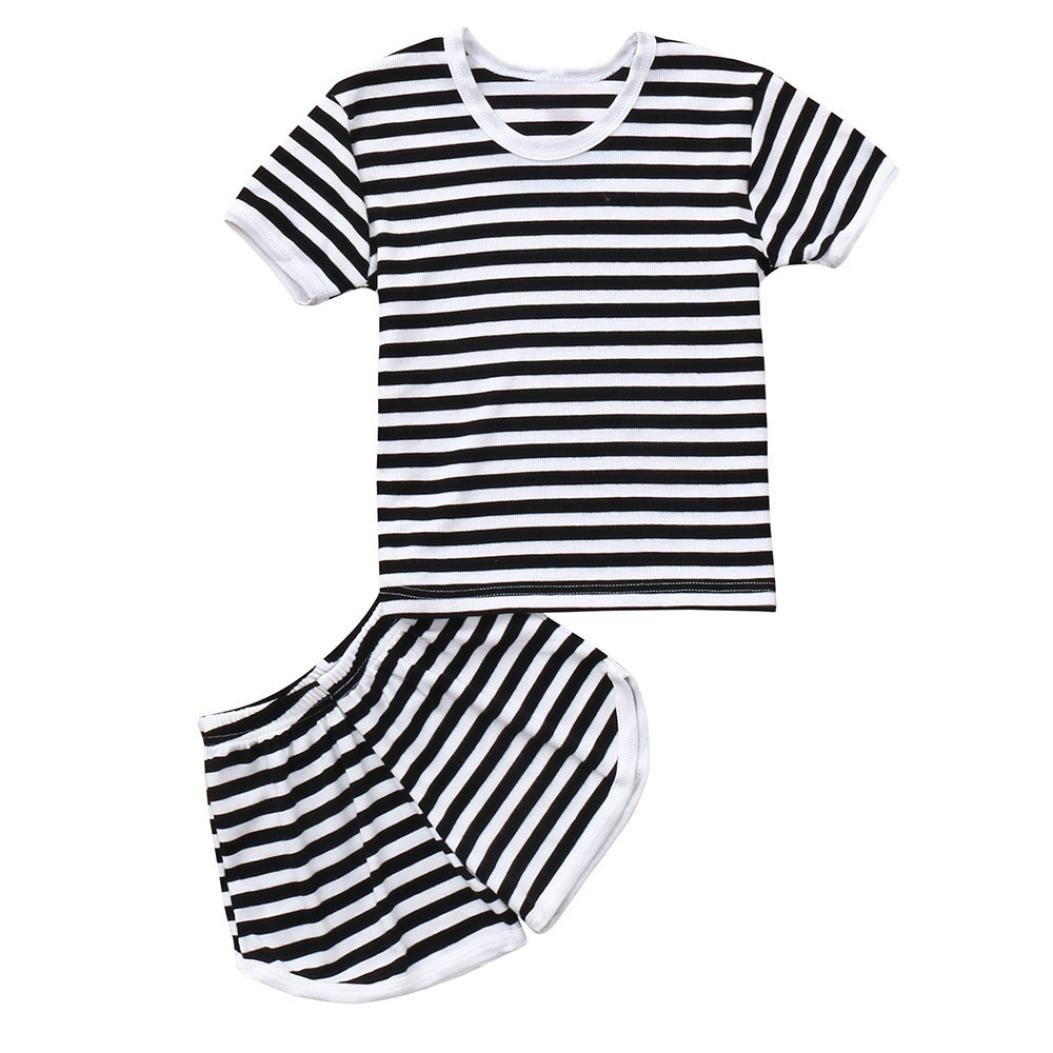 WARMSHOP 2Pcs Toddler Summer Clothes Boys Girls Sleepwear Short Sleeve Striped Tops+Shorts Casual Sport Outfits Set