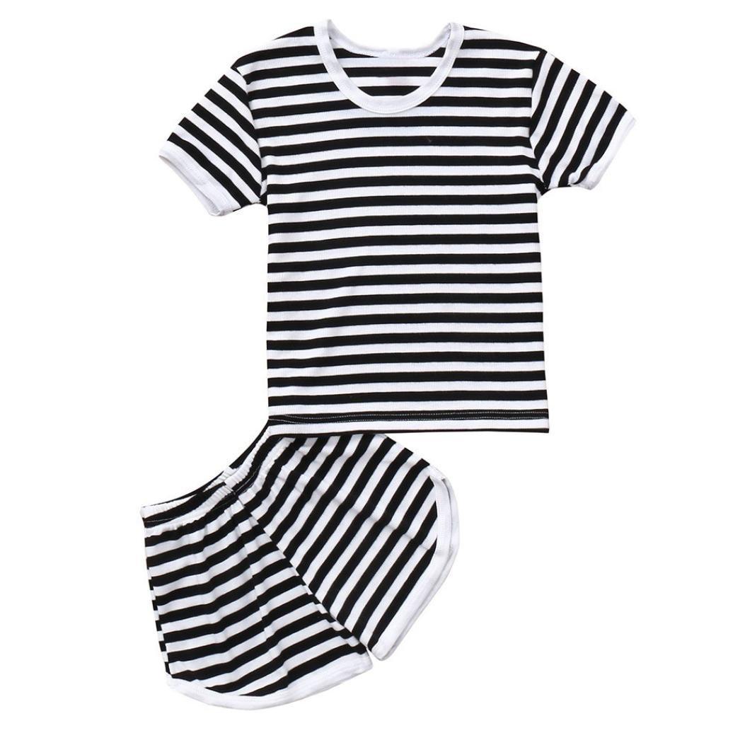 d857c9869de0 Amazon.com  WARMSHOP 2Pcs Toddler Summer Clothes Boys Girls Sleepwear Short  Sleeve Striped Tops+Shorts Casual Sport Outfits Set  Clothing
