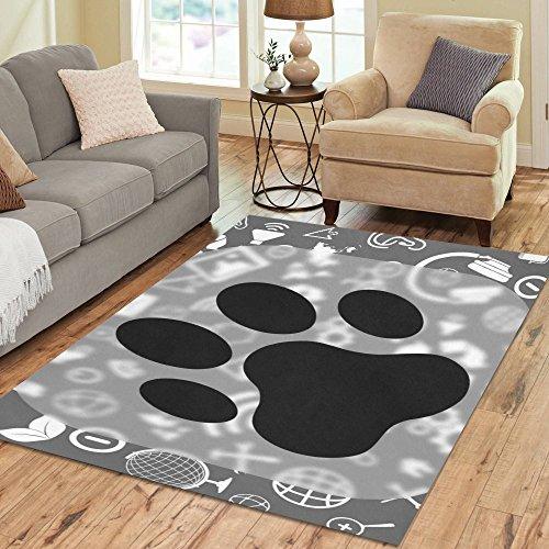 Fantasy Design Cat Paw Print Area Rug 7'x5'Custom Soft Carpet For Living Room Bedroom Home Decoration (Print Paw Rug)