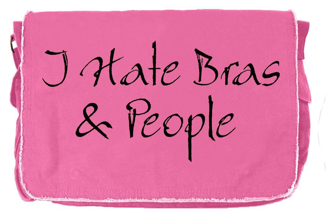 Tenacitee I Hate Bras and People Flamingo Raw Edge Canvas Messenger Bag