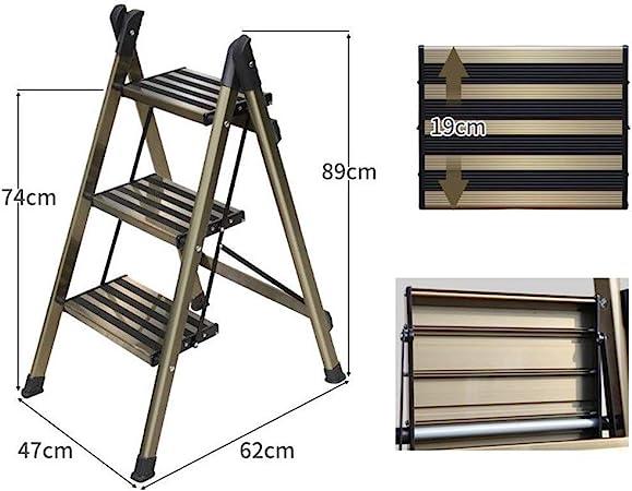 Xsgsgfs Escaleras Plegables peldaños, 3-Step / 4-Escalera Plegable, de Aluminio Plegable escaleras de Tijera, Ligero Kitchen Paso Stool, Multiusos Stool con peldaños Antideslizante: Amazon.es: Hogar