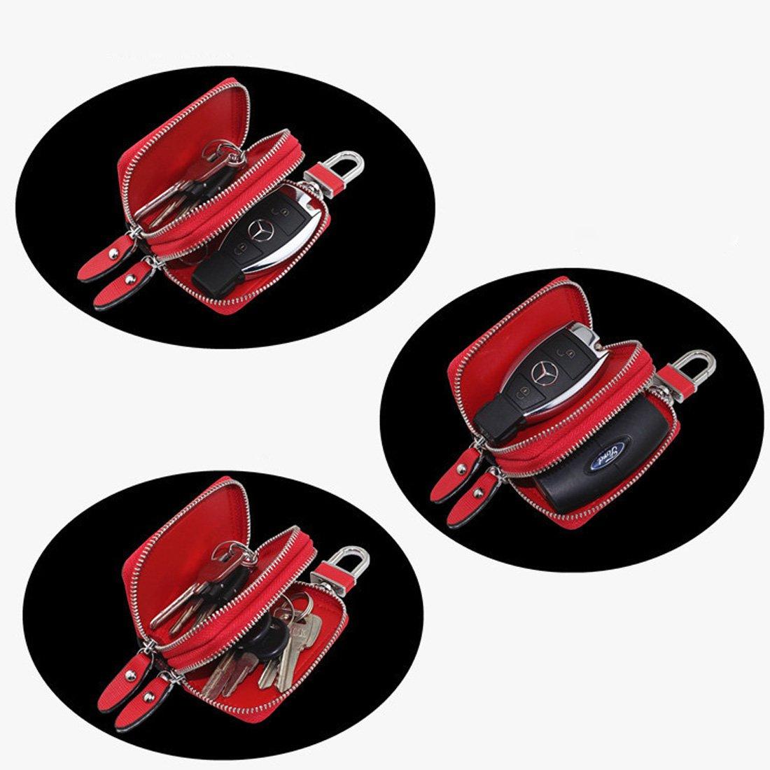 Esdrem /Étui porte-cl/és unisexe en cuir v/éritable /à double fermeture /éclair Red Large