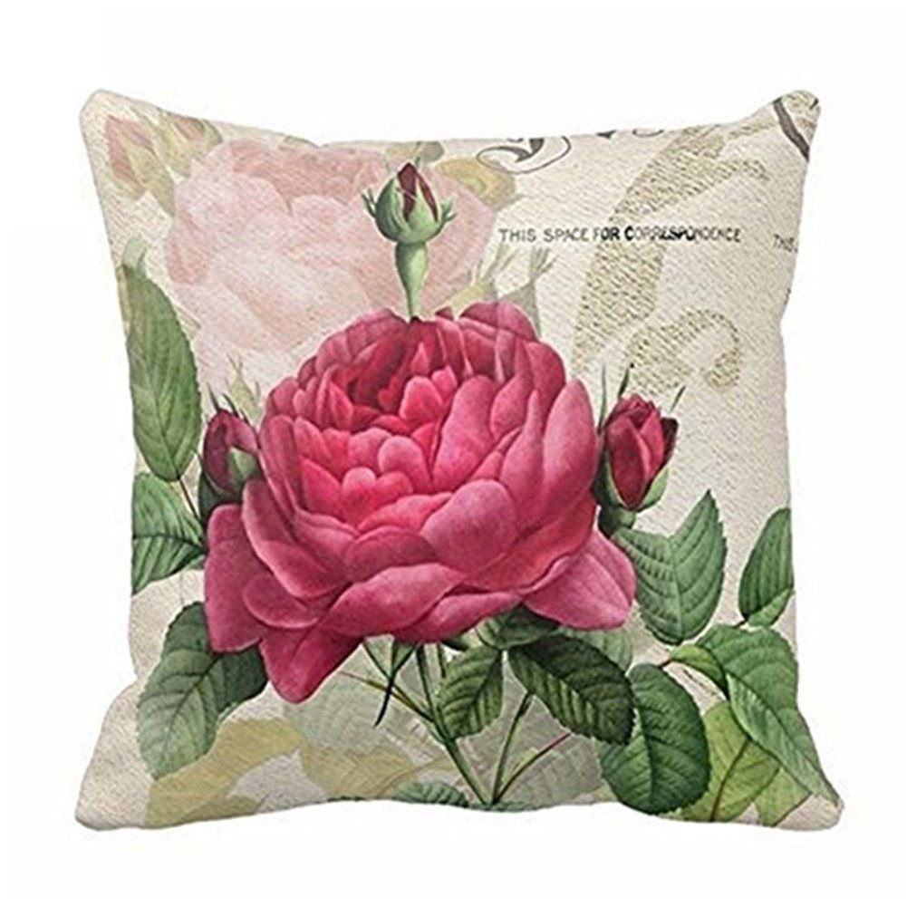 SODIAL Vintage Floral/Flor de lino Decorativo Throw Pillow Case Funda de cojin Home Sofa Decorativo (flor de Rose): Amazon.es: Hogar