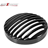 AllExtreme EXHBGS1 Metal Cast Iron Front 7 Inch Headlight Grill Cover Compatible for BS3 BS4 Model Royal Enfield Bullet Classic Electra Standard 350cc 500cc (Black)
