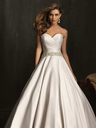 bf583482dd9 Amazon.com   Simple A-line Beaded Strapless Sweetheart Satin Chapel Train  Wedding Dress Wedding Gown Any Size color Customized   Beauty