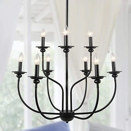 Farmhouse Lighting, 2-Tier 9-Light Black French Country Chandelier in Metal Candle Finish, Large Rustic Pendant Light Fixtures for Dining Room, Living Room, Kitchen Island