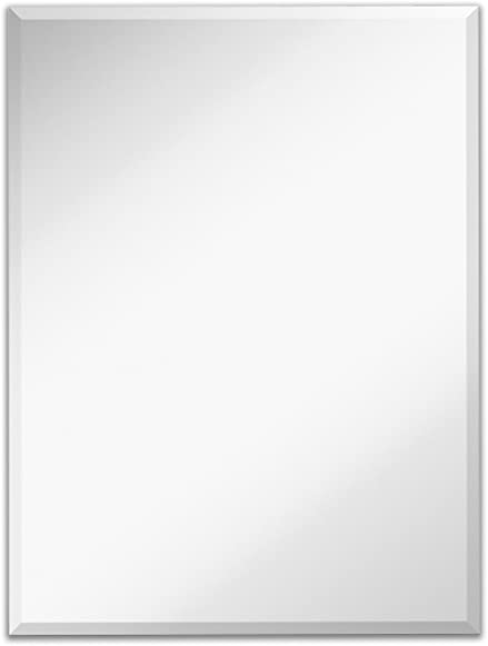 Hamilton Hills Large Simple Rectangular 1 Inch Beveled Wall Mirror | Premium Rectangle Glass Panel Vanity