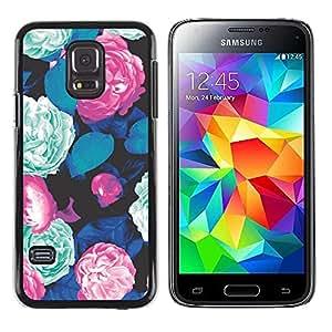TopCaseStore / la caja del caucho duro de la cubierta de protección de la piel - Green Floral Vintage Retro - Samsung Galaxy S5 Mini, SM-G800, NOT S5 REGULAR!