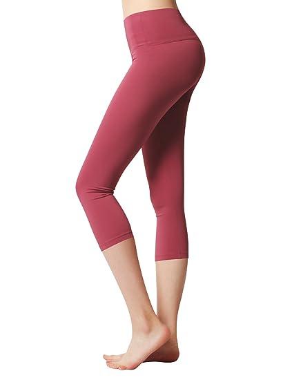 8d189f4537 ACTICLO Women's Yoga Capri Pants Workout Running Legging Inner Pocket  Cinnabar X-Small