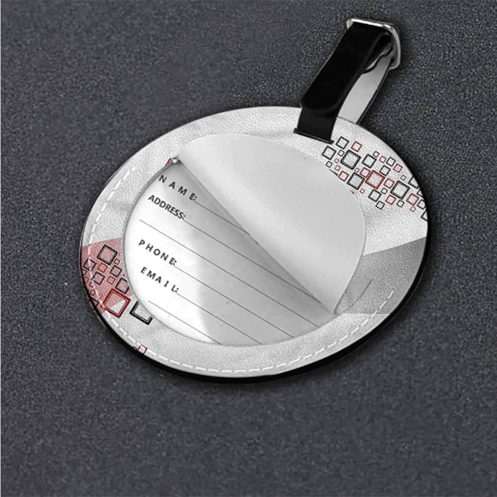Round Leather Luggage Abstract,Star Vibrant Celestial Round Luggage Tags