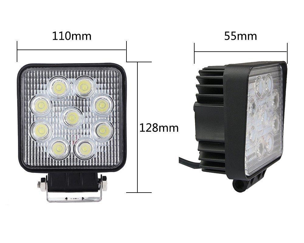 VINGO/® 4X 27W Arbeitsscheinwerfer LED 12v Arbeitslicht Auto Scheinwerfer Lampe 6500K Wei/ß F/ür Trecker Offroad KFZ Bagger SUV