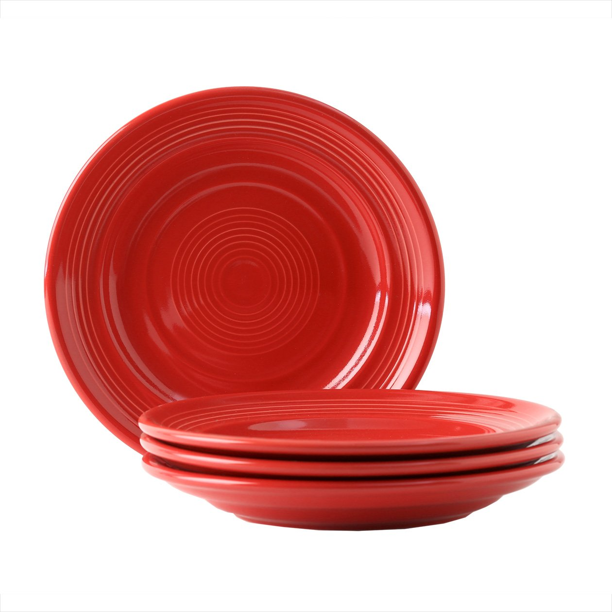 Tuxton Home Concentrix Salad Plate (Set of 4), 7 1/2'', Cayenne Red; Heavy Duty; Chip Resistant; Lead and Cadmium Free; Freezer to Oven Safe up to 500F