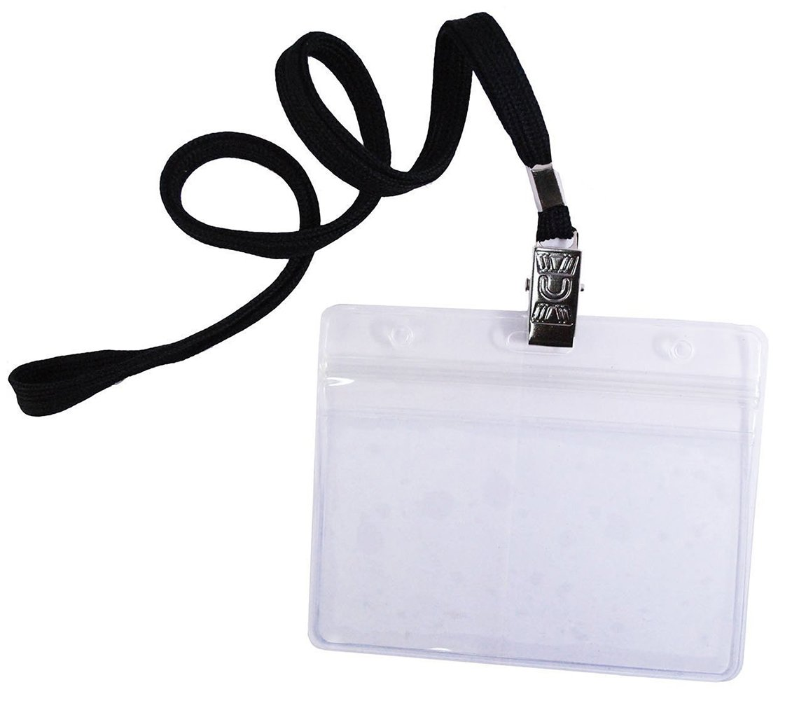 Bird Fiy 50 Pcs Top Quality Waterproof Type Clear Plastic Horizontal Name Tag Badge Id Card and 50 Pcs Black Lanyard