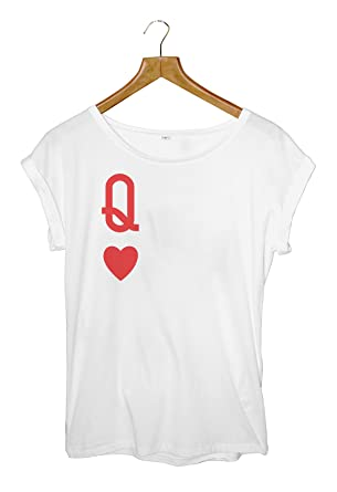 fabe9c9cf Queen Of Hearts Women's Roll Sleeve T-Shirt/Top (Large): Amazon.co ...