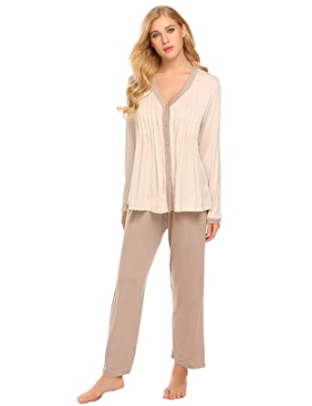 62736de55998 Hufcor Women s Pajama Set Sleepwear Luxury Nightwear Thermal Underwear Set  - Khaki -