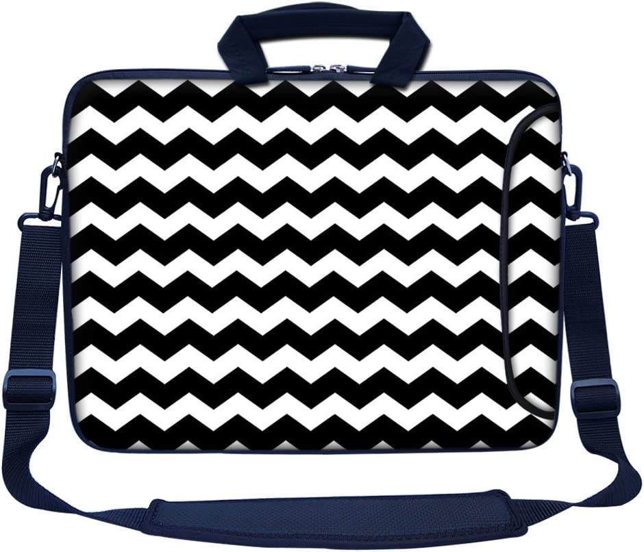 """Meffort Inc 15 15.6 inch Neoprene Laptop Bag Sleeve with Extra Side Pocket, Soft Carrying Handle & Removable Shoulder Strap for 14"""" to 15.6"""" Size Notebook Computer - Black Chevron Pattern"""