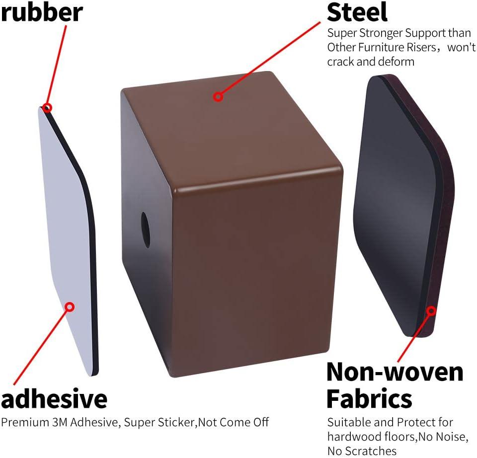 Sofas Schr/änken 6,4 cm breit Braun unterst/ützt 20.000 lbs selbstklebende M/öbelerh/öhung f/ügt 5 cm H/öhe zu Betten Ezprotekt5 cm M/öbelerh/öhung aus Karbonstahl