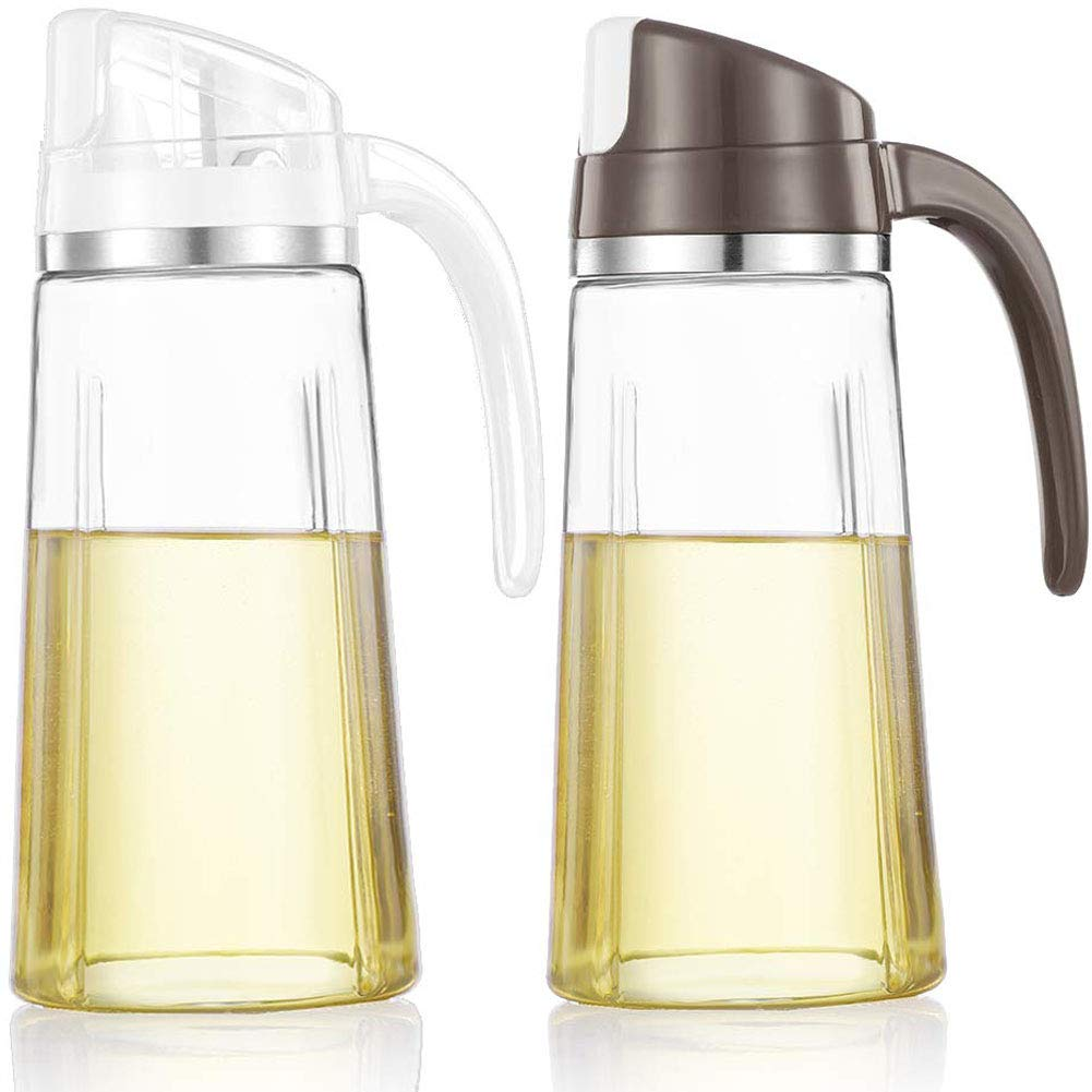 Auto Flip Olive Oil Dispenser Bottle,20 OZ Leakproof Condiment Container With Automatic Cap and Stopper,Non-Drip Spout,Non-Slip Handle for Kitchen Cooking (2 Pack White+ Brown) by Marbrasse