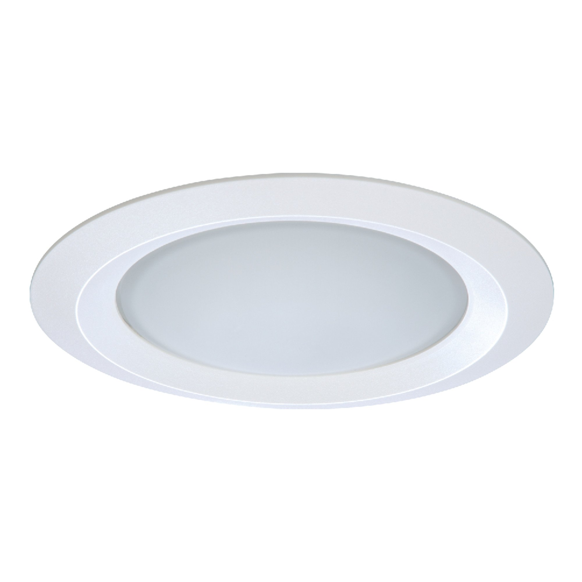 Halo 5150WH E26 Series Recessed Lighting Self Flanged Shower Trim with Frosted Glass Lens, 5'', White