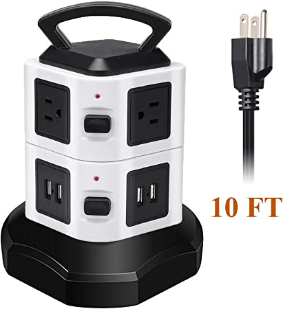 14 Outlets Vertical Multiple USB Output Surge Overload Protector Handle Strip