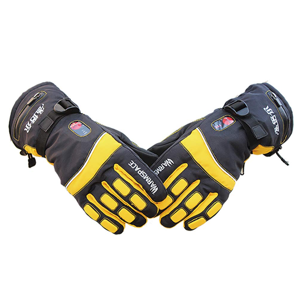 yanbirdfx Electric Heating Adjustable Waterproof Outdoor Skiing Unisex Winter Warm Gloves - US Plug Yellow M