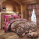 20 Lakes Hunter Camo Comforter, Sheet, Pillowcase Set Pink & Hot Pink (King, Pink/Hot Pink)
