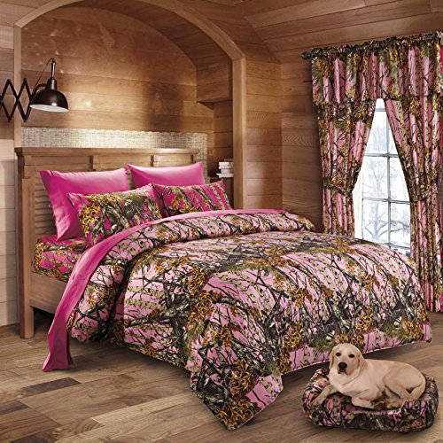 Hunter Camo Comforter, Sheet, & Pillowcase Set Pink & Hot Pink (Cal King, Pink / Hot Pink)