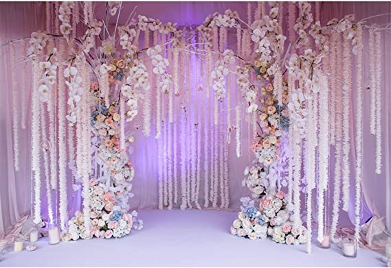 Chic Floral Wedding Stage Backdrop 10x6.5ft Polyester Pink Rose Flowers Green Wall Background Wedding Ceremony Photo Booth Bridal Shower Banner Bride Portrait Shoot Event Activities