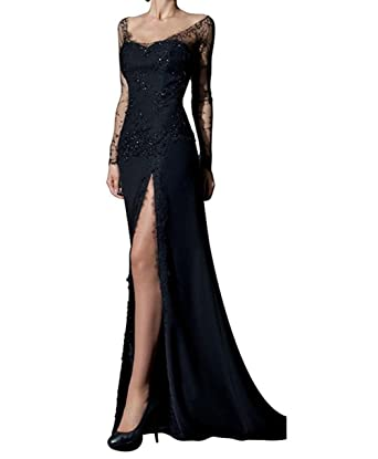 bd9b3cf7f20 Amazon.com  Dreamdress Women s Black Lace Split Long Sleeve Illusion Evening  Dress Ball  Clothing