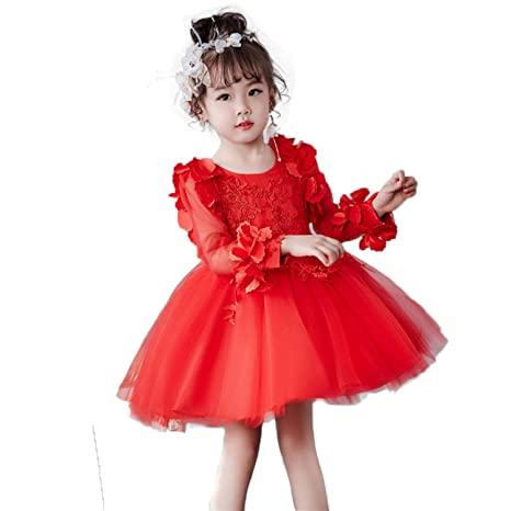 1ac09aae8 Image Unavailable. Image not available for. Color: Girl Dress Party  Birthday Wedding Princess Toddler Baby Girls Christmas Clothes Children Kids  ...