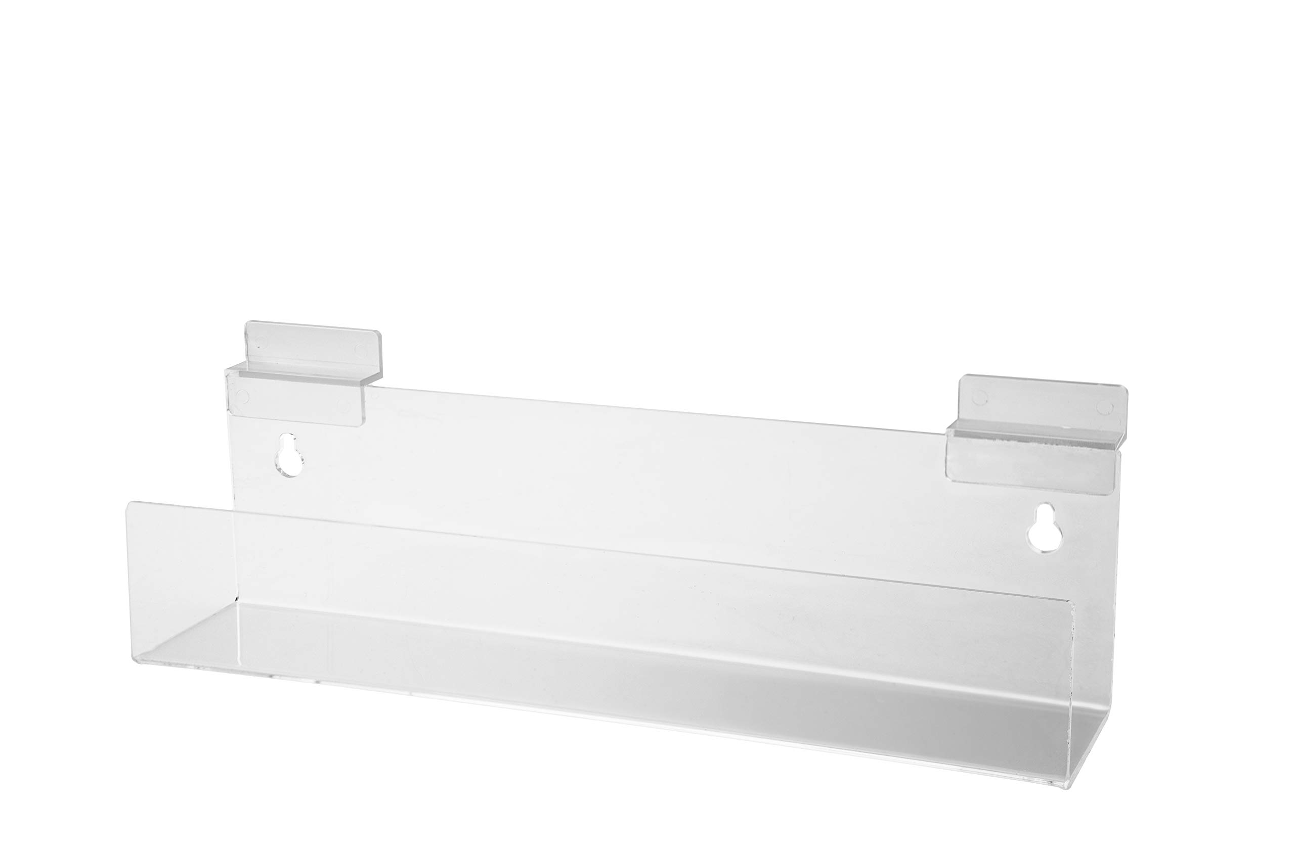 Marketing Holders Slatwall Shelf J Book Brochure Product Holder 12'' Wide x 2.5'' Deep 2'' Lip Clear Pack of 24 Acrylic