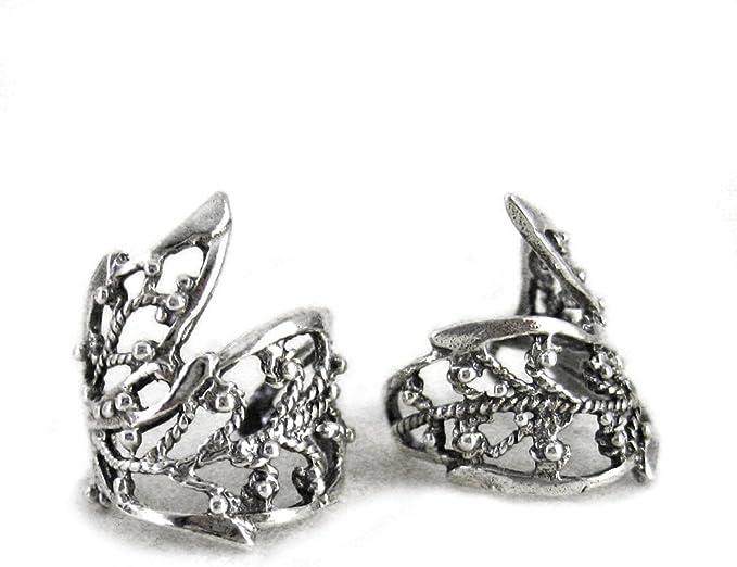 Lace Filigree sterling silver ear cuffs Sterling Silver earrings Filigree jewelry Filigree earrings Ear Cuff clip jewelry handmade C-080