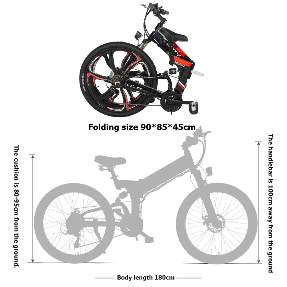 YRWJ Bicicleta De Montaña Eléctrica Bicicletas Plegables Al Aire Libre De Gran Capacidad 48V 10AH Bicicleta De Litio Ciclomotor para Adultos Coche De ...