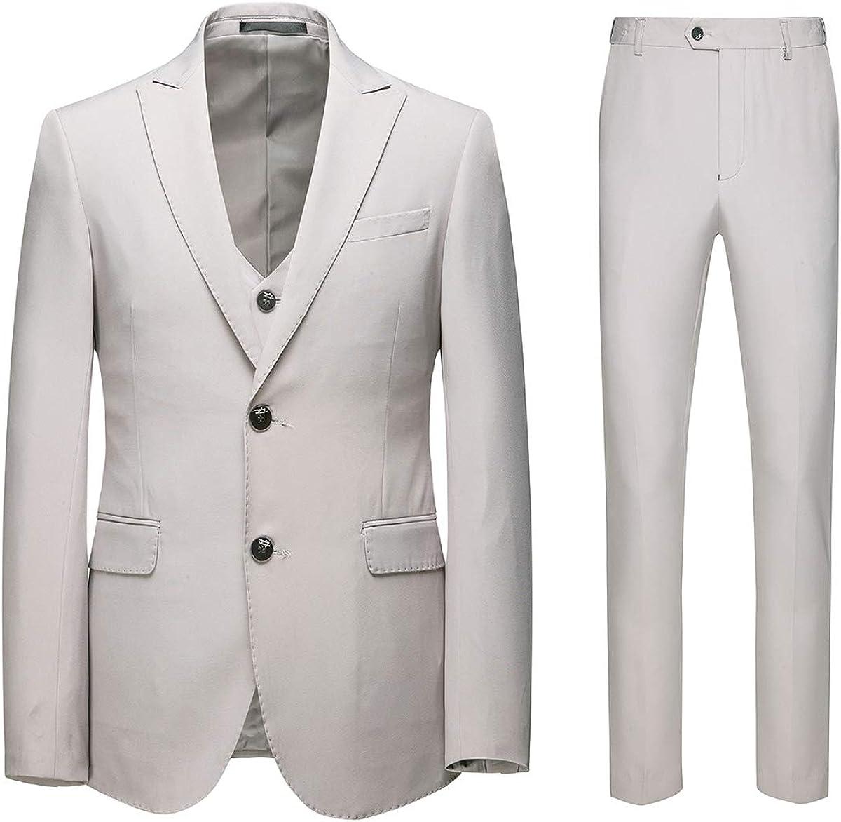 AOWOFS Traje elegante de 3 piezas para hombre, corte ajustado, con dos botones, para bodas de negocios