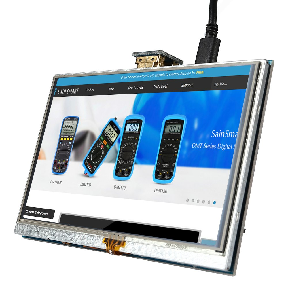 B//B+ SainSmart 5 inch 800x 480 Touch Screen TFT LCD Display Module Resistive Panel HDMI Interface f/ür Raspberry Pi 3 Pi 2 Model A//A