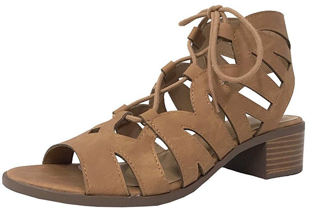 Cambridge Select Women's Lace-up Open Toe Gladiator Cutout Chunky Stacked Block Heel Ankle Bootie B07B4J86S9 10 B(M) US|Tan Nbpu