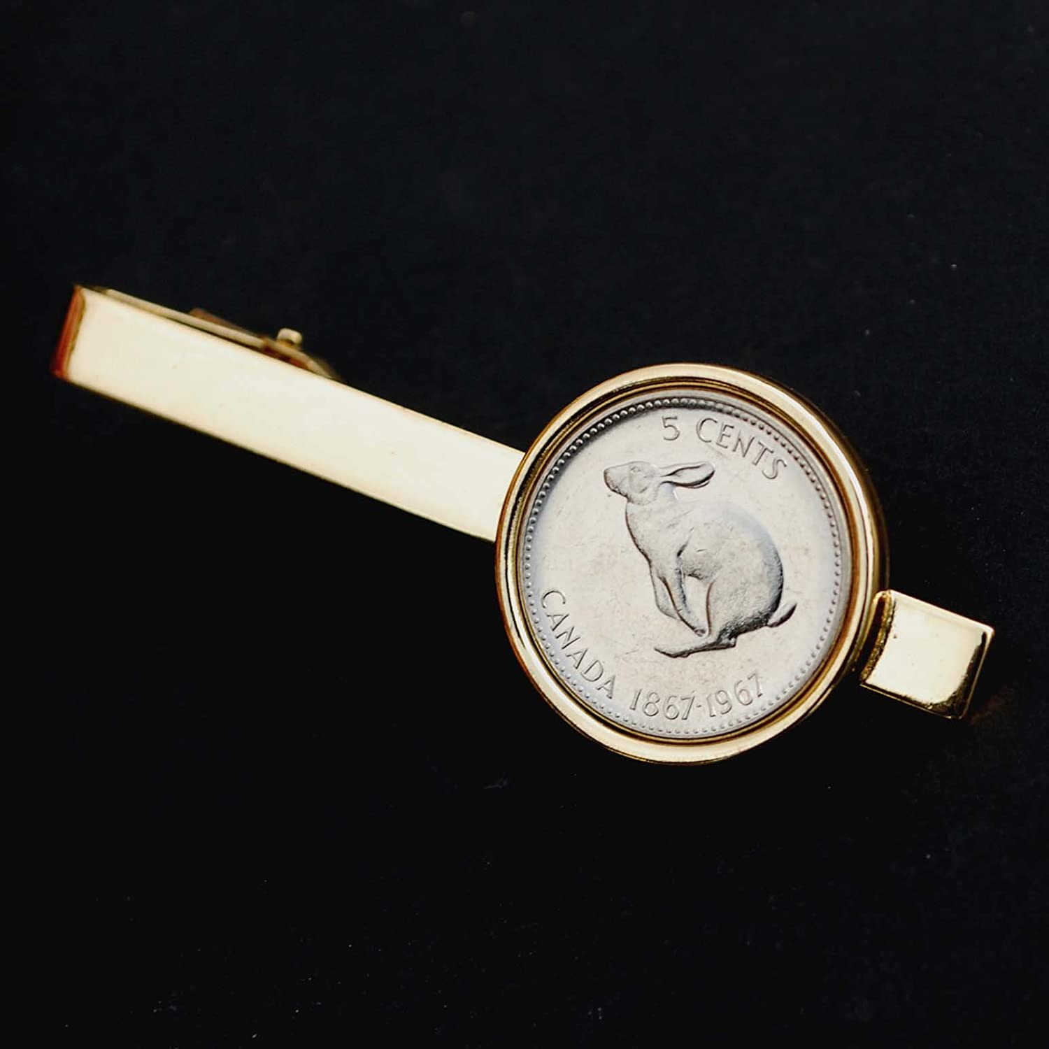 Canada 1967 Five Cents Gem BU Uncirculated Nickel Coin Gold Plated Tie Clip Clasp Bar - Snowshoe Rabbit