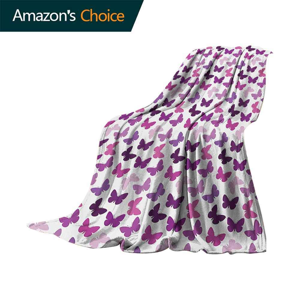 vanfan-home Butterfly Personalized Blankets,Abstract Retro Butterfly Silhouettes Floral Springtime Girls Theme Image Lightweight Plush Throws for Chair Fall Winter Spring(62''x60'')-Pink Purple Lilac